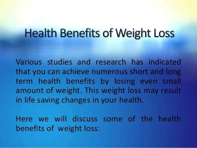 Healt benefits of weight loss