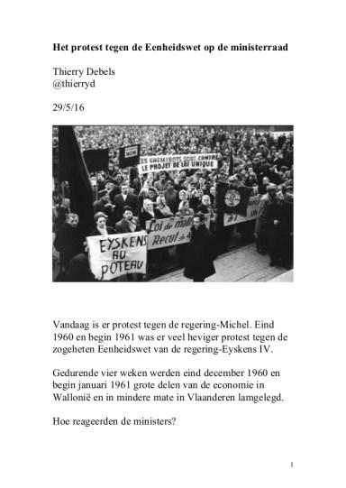 Het protest tegen de Eenheidswet op de ministerraad Thierry Debels @thierryd 29/5/16 Vandaag is er protest tegen de regeri...