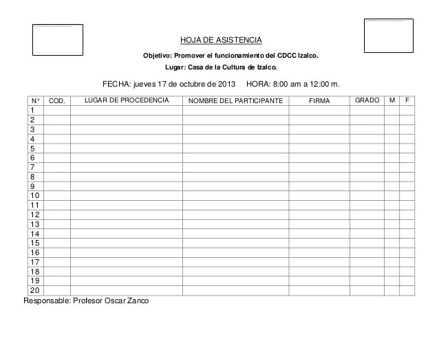Hoja De Asistencia 2013
