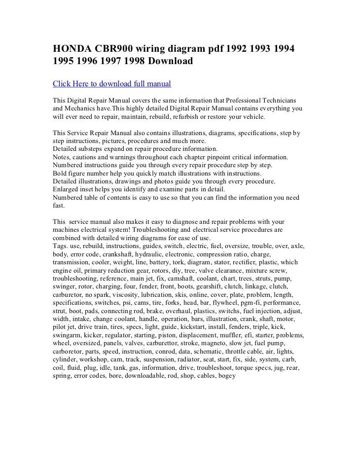 Honda cbr900 wiring diagram pdf 1992 1993 1994 1995 1996