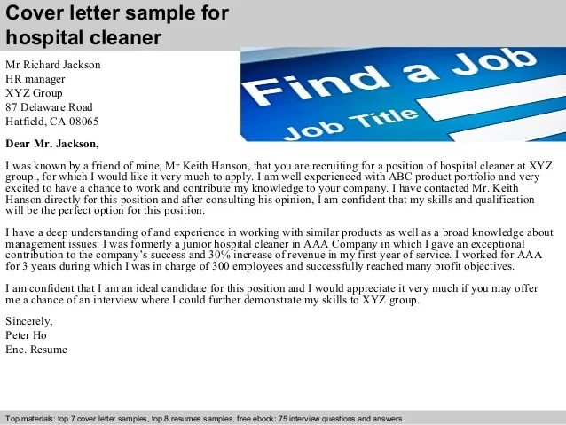 cleaner cover letters