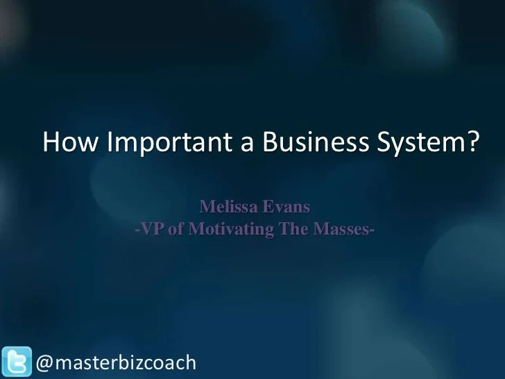 How Important a Business System?
