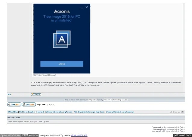 How to Uninstall Acronis True Image Home 2015 2014 2012 ...