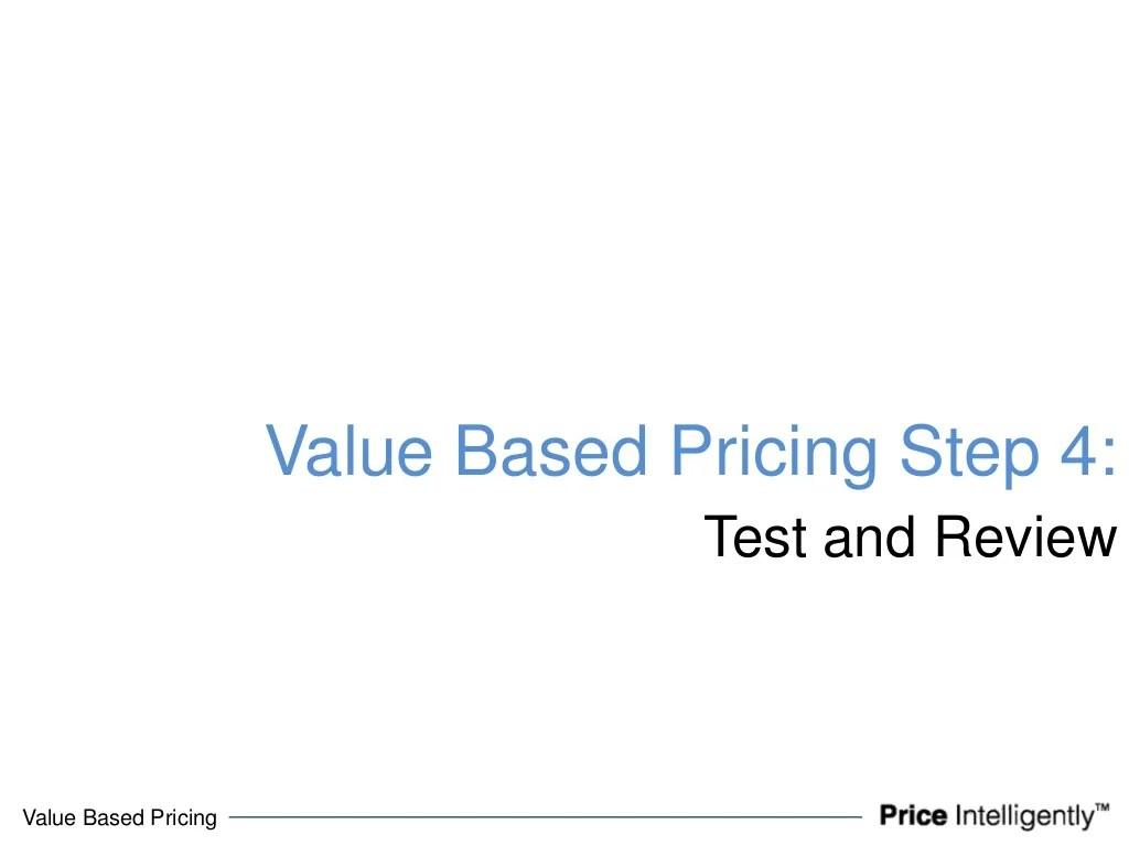 Value Based Pricingvalue Based Pricing
