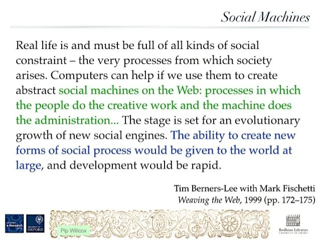 Tim Berners Lee Talking about Social Machines to