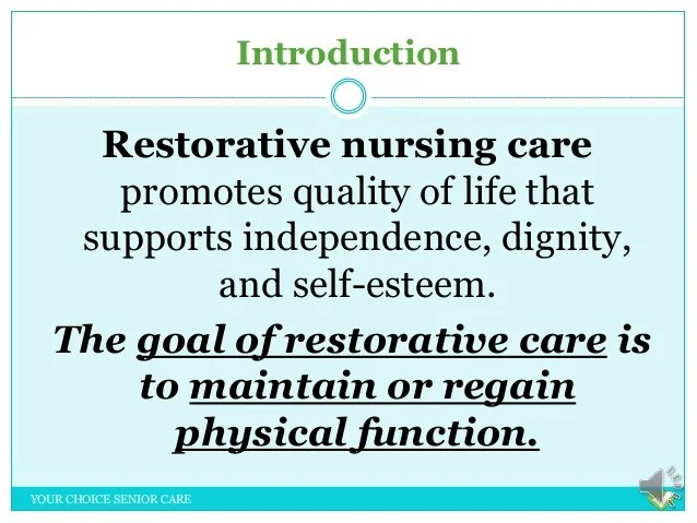 example restorative nursing care plans