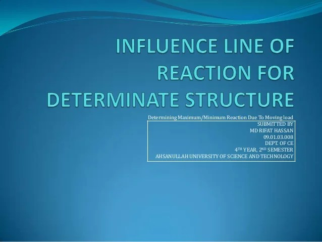 Influence line of reaction for determinate structure ...
