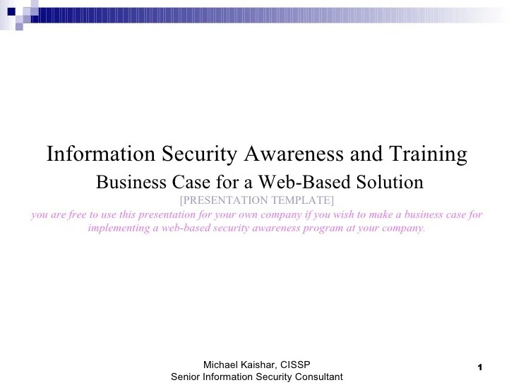 Security Awareness Policy Template
