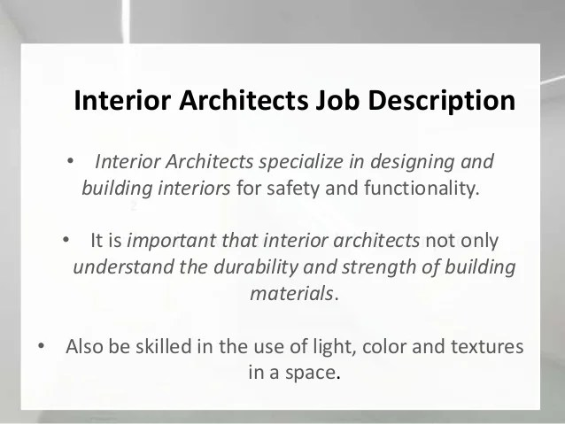 Interior Designer Architect Job Description  PsoriasisguruCom