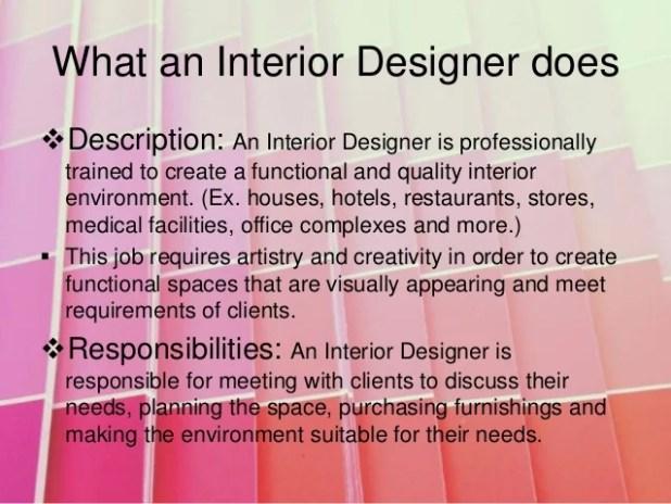 Interior designer description Interior designer job requirements