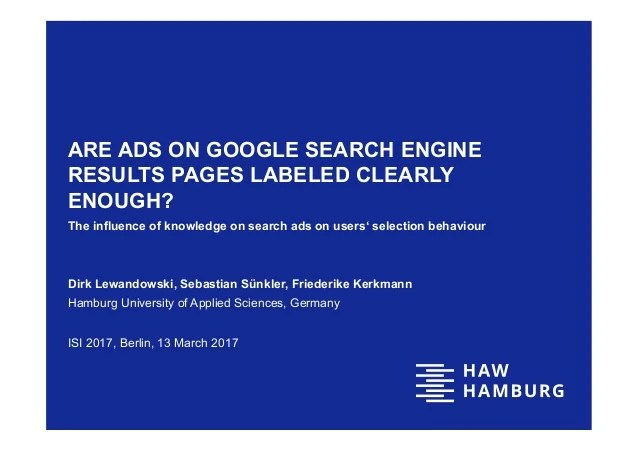 Are Ads on Google search engine results pages labeled ...