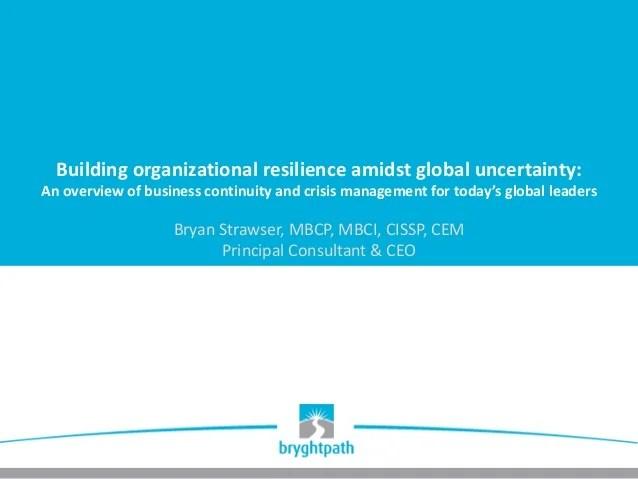 Building Organizational Resilience Presentation - ISSA ...
