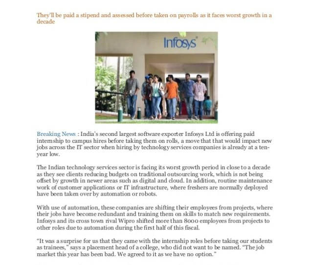 It Hiring At 10 Year Low Infosys Takes Campus Hires As Interns They