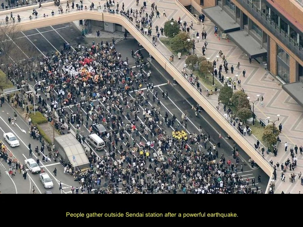 People Gather Outside Sendai Station