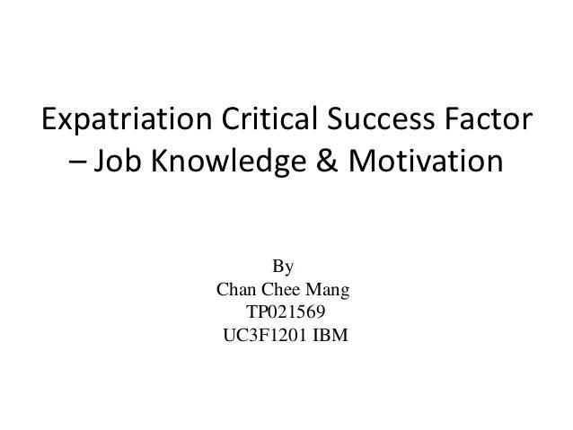 Job knowledge & motivation expatriation