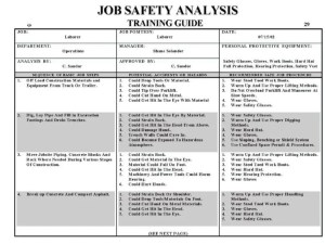 Jsa For Electrical Work: Jsa electrical isolation Job