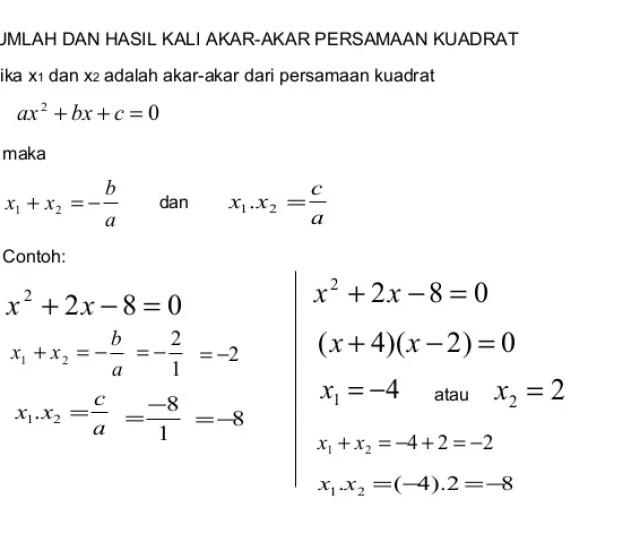 Jumlah Dan Hasil Kali Akar Akar Persamaan Kuadrat Jika X Dan X Adalah Akar