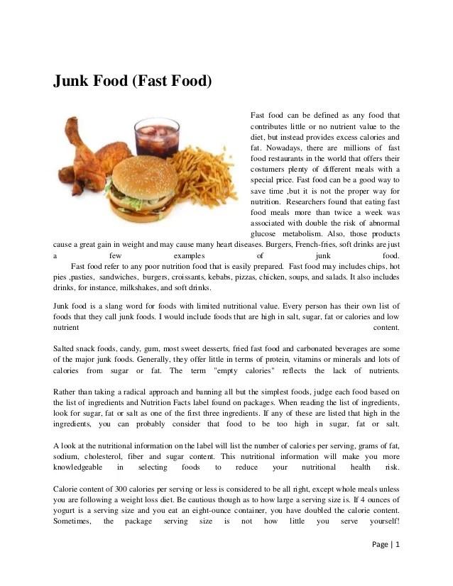 Essay benefits fast food