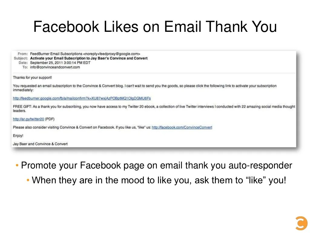 Facebook Likes On Email Thank
