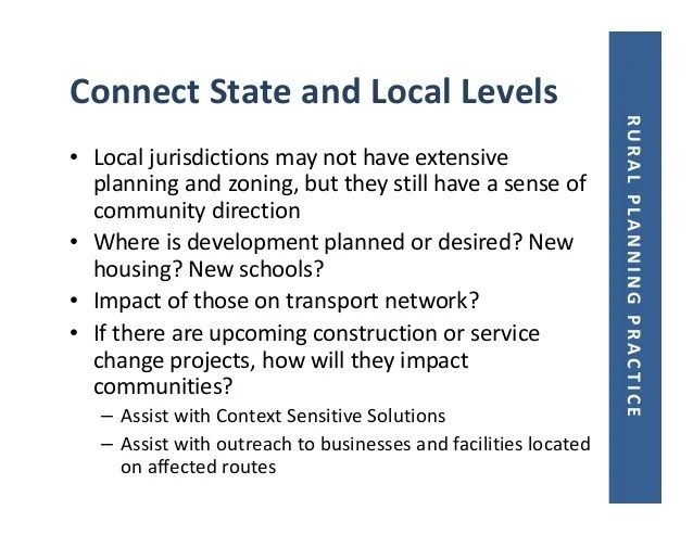 Rural Transportation Planning Trends and Issues