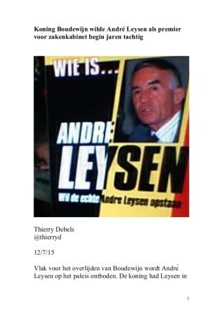 Koning Boudewijn wilde André Leysen als premier