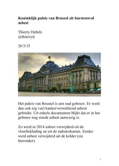 Koninklijk paleis van Brussel zit barstensvol asbest
