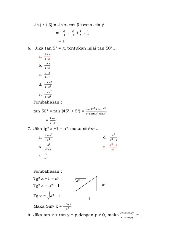 Soal trigonometri kelas xi oleh muhamad abdul rosid matematikanet.com 1. Latihan Soal Trigonometri Kelas Xi