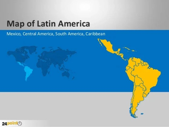 Latin America PowerPoint Map Latin America PowerPoint Map  Map of Latin America Mexico  Central America   South America