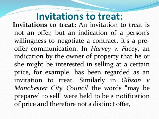 Invitations To Treat