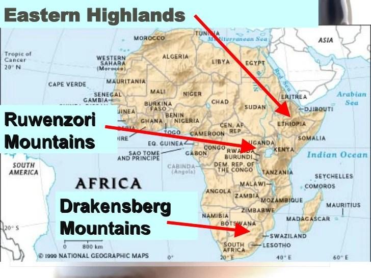 Drakensberg Mountains Map Africa Sub Saharan Africa major physical features – World Regional