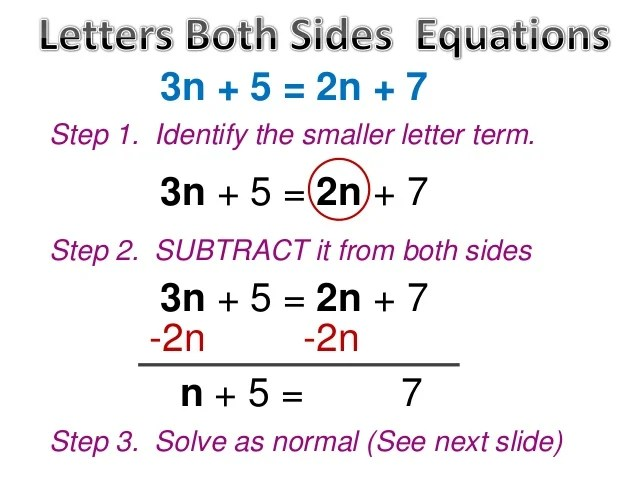 Steps Equations Variables Both Sides