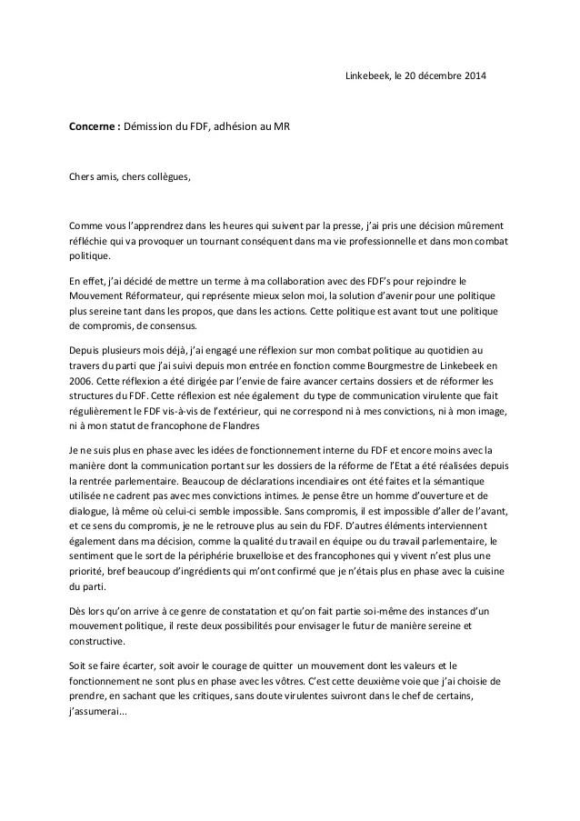 Modele Lettre De Demission Dun Parti Politique Document