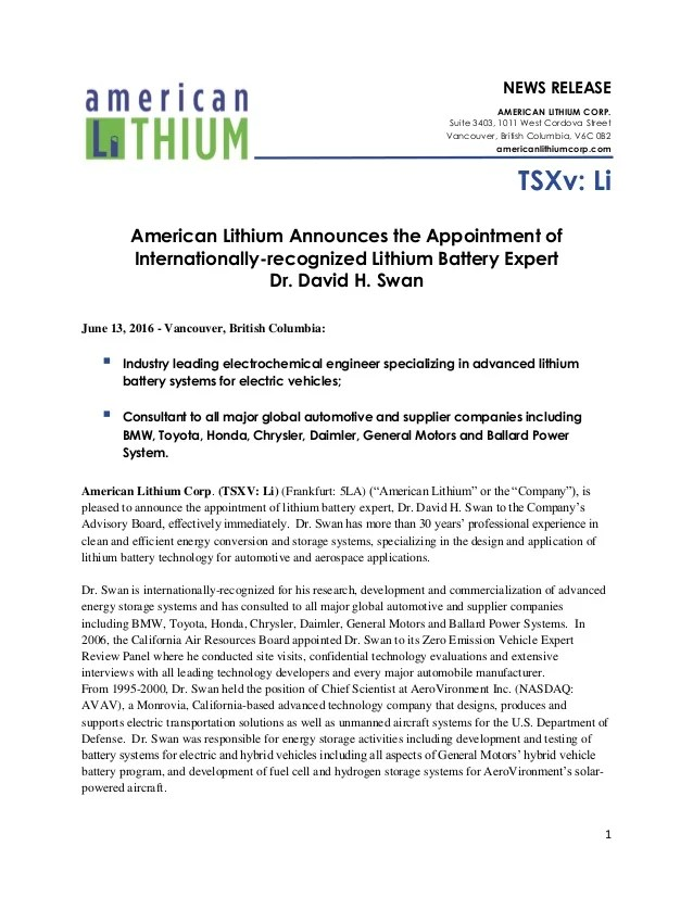 American Lithium Announces the Appointment of ...