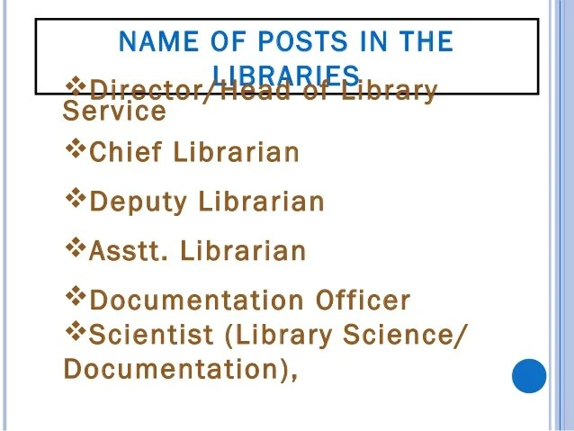 Library and Information Officer Knowledge Manager/ Office Information Officer Semi professional assistant Junior libr...