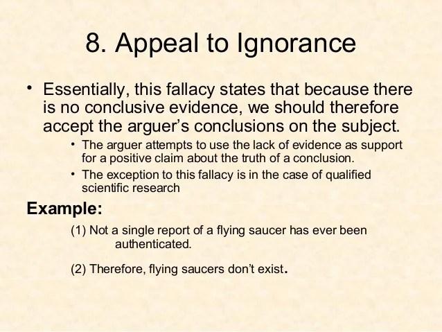 Fallacies Appeal Ignorance Examples Commercials