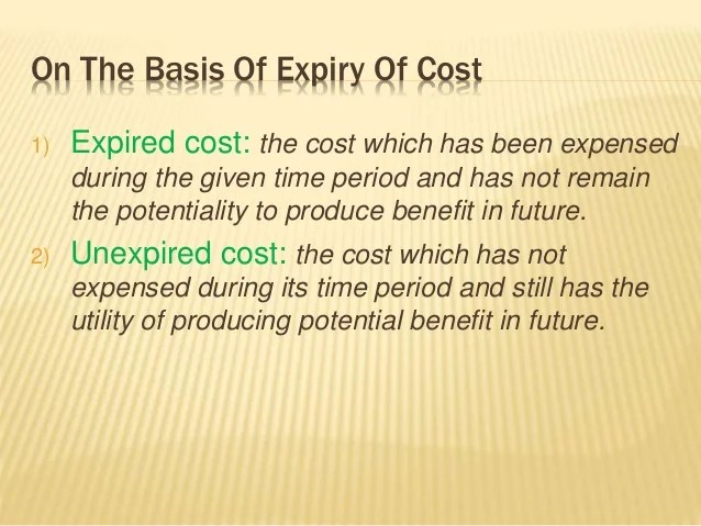 Image result for Expired Cost meaning