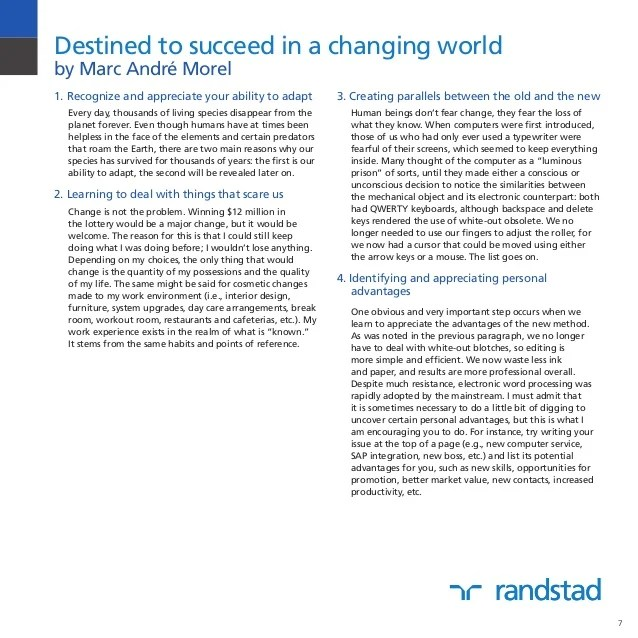 Managing change in today's ever changing world of work