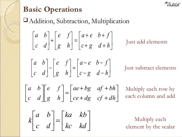 Matrix Scalar Multiplication Worksheet