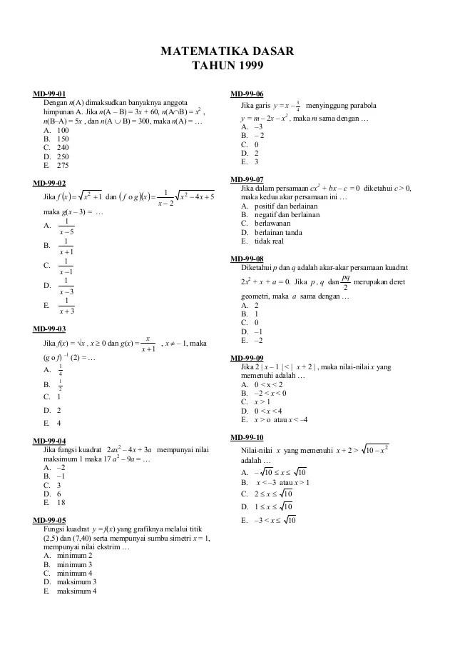 Contoh soal matematika dasar tes kerja nomor 4. Soal Matematika Dasar 1999