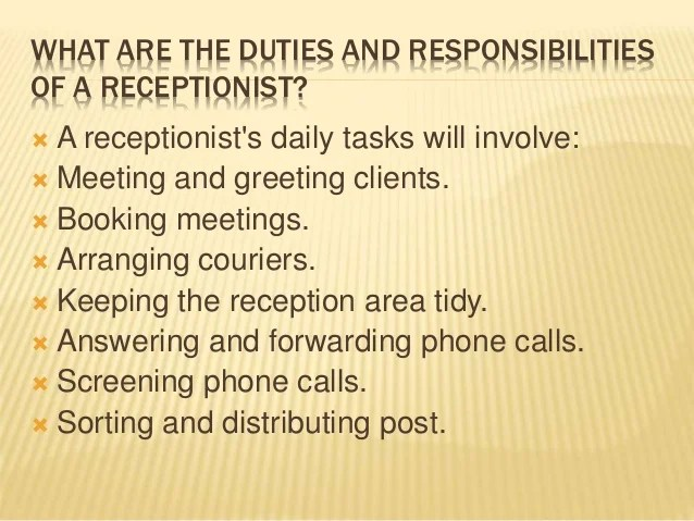 Meaning of receptionist , sb College of MASTER OF TOURISM ...