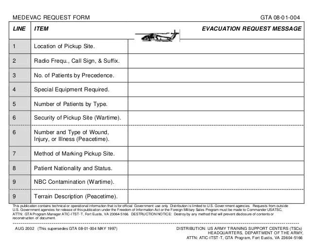 graphic relating to 9 Line Medevac Card Printable identify 9 Line Medevac Card Pdf