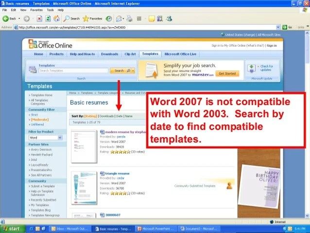 Use Microsoft Office Resume Wizard