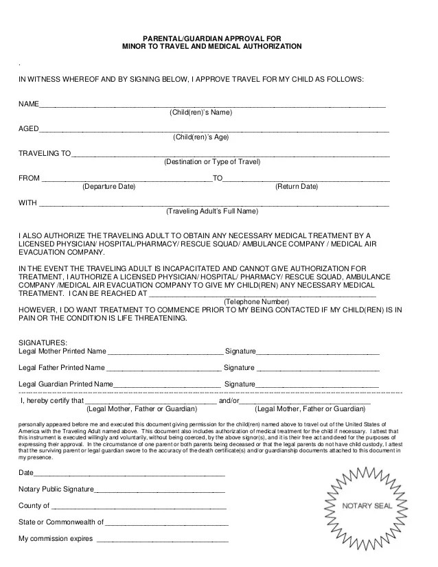 Authorization Letter For Minor To Travel Without Parents Sample   FREE  DOWNLOAD