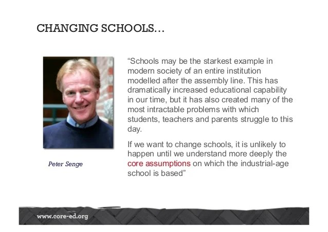 "CHANGING SCHOOLS… ""Schools may be the starkest example in modern society of an entire institution modelled after the assem..."