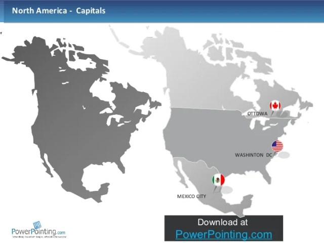 Powerpoint North America Map     AMERRICA CANADA  3   ul  li North America
