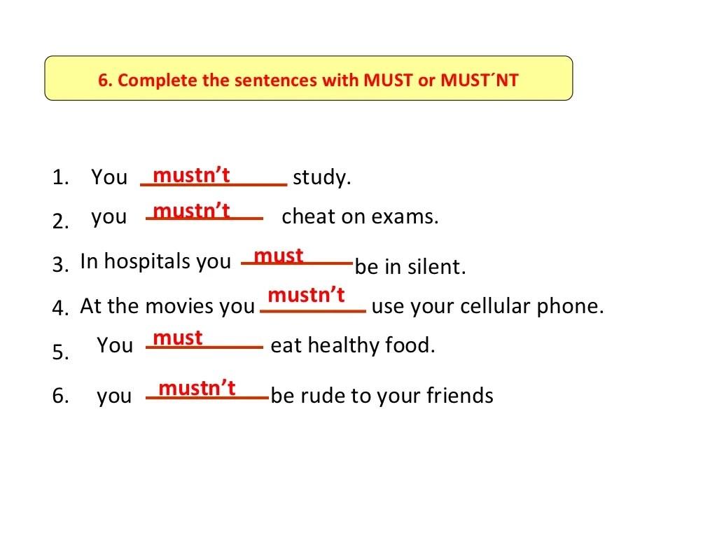 Must Mustn T