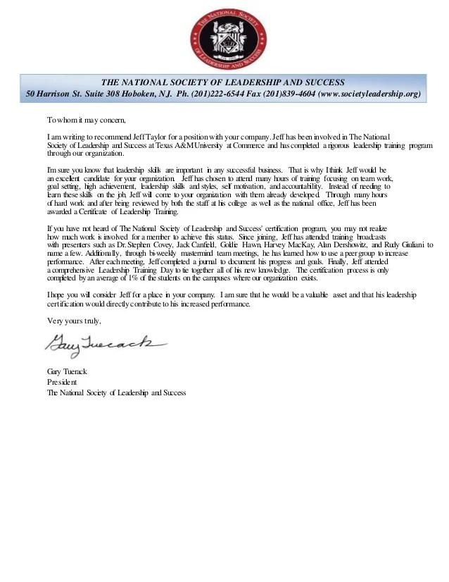 National Honor Society Leadership Recommendation Letter