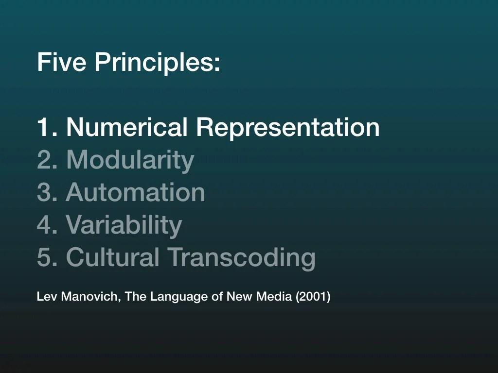 Five Principles 1 Numerical Representation2 Modularity3