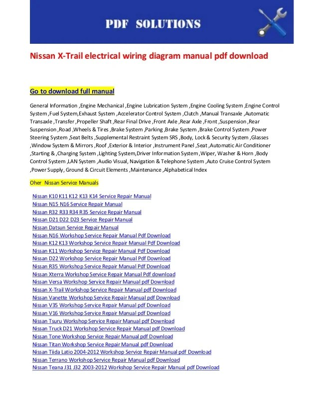 Nissan x trail electrical wiring diagram manual pdf download
