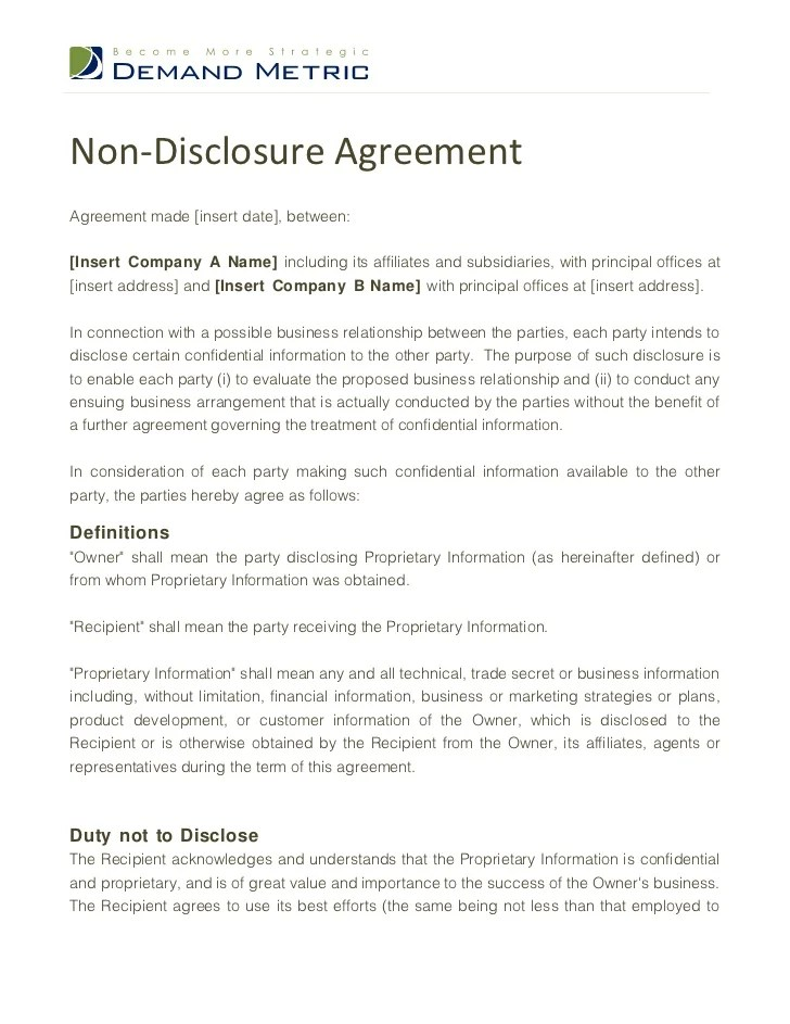 The form encourages businesses and individuals to cooperate without fear that shared information could later be used to undermine. Non Disclosure Agreement Template